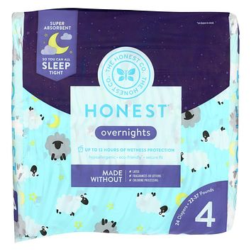 The Honest Company - Overnight Diapers Size 4 - Sleepy Sheep - 24 Count