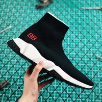 "Balenciaga Stretch Knit Speed Trainers With Red ""BB"" Sneaker - Best Online Sale"