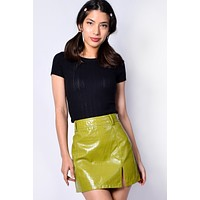 Wilma Croc Mini Skirt - Lime