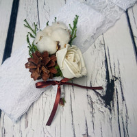Natural organic raw cotton boll flower preserved cypress rustic woodland wedding BOUTONNIERE winter winterwonderland custom original