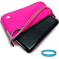 Durable Neoprene Protective Sleeve Cover Carrying Case for Apple MacBook Air MC506LL/A 11.6-Inch Laptop, Magenta Laptop Sleeve + Includes SumacLife TM Wisdom Courage Wristband