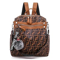 FENDI Fashionable Casual Leather Sport Laptop Bag Shoulder School Bag Backpack Brown