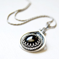 Black Onyx sterling silver pendant, wire wrapped, handmade