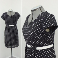 Vintage 90s Does 50s Black and White Polka Dot Dress, Sheath Dress, Pleated Dress, Short Summer Dress, Knee Length Dress, Casual Dress