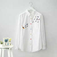 White Music  Embroidery Long-sleeve Collared Shirt