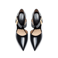 LEATHER POINTED COURT SHOE WITH BUCKLE - Shoes - Woman | ZARA United States