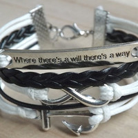 """Unlimited - anchor - """"where there's a will there's a way"""" ancient silver bracelets wax line ready"""