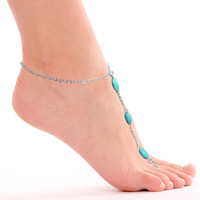 Turquoise Color Stone Anklets  With Toe Ring