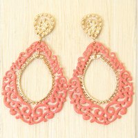 Coral Classical Pattern Dangle Earrings - Earrings