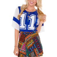 Jersey Gal Crop Top - Blue