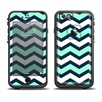 The Teal & Blue Wide Chevron Pattern Apple iPhone 6 LifeProof Fre Case Skin Set