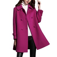 Verypoppa Women's Double Breasted A-Line Long Wool Coat Outwear