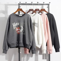 2017 New Fashion Harvard University Preppy Style Girls Student Hoodies Loose Thicken Women's Pullovers Sweatshirts Warm Tops