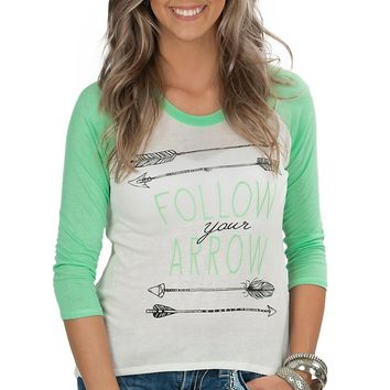 Mezzanine Women's White and Mint Follow Your Arrow 3/4 Baseball Sleeves Casual Knit Tee