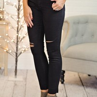 *  Dear John Ankle Skinny Distressed Jean : Carbon Black