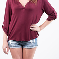 Maroon 3/4 Sleeve Top