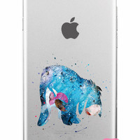 Eeyore Winnie the Pooh Watercolor Clear iPhone Case 5,5s,SE,6,6S,6+,7,7+