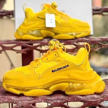 Balenciaga Shoes High Quality Contrast Crystal clear shoes Triple sole Shoes Yellow