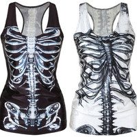 Gothic Quality X-ray-Skeleton White/Black Digital Clubwear Punk T-Shirt Fashion Print Tank Top = 1830114308