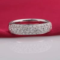 Sterling Silver Cubic Zirconia Anniversary Band ring size 7