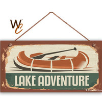 "Lake Adventure Sign, The Great Outdoors Sign, Rustic Canoe Decor, Camp Sign, Weatherproof, 5"" x 10"" Sign, Kid's Tree House, Made To Order"