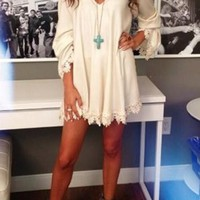 White Patchwork Lace V-neck Fashion Cotton Mini Dress