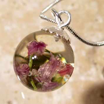 Chive Flower Sphere Necklace, Froral pendant, plant jewelry, flower jewellery, nature, silver plated chain, pink