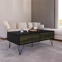 """43"""" Wooden Coffee Table with Hairpin Legs, Black and Brown By The Urban Port"""