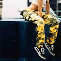 Women's Trending Camouflage Print Training Denim Casual Pants Trouser Yellow