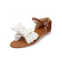 Big Bowtie Patchwork Buckle Flower  White Flat Sandals