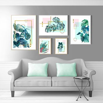 Nordic Decoration Home Poster Watercolor Green Plant Decorative Canvas Paintings Wall Art Pictures for Living Room No Frame