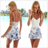 SIMPLE - Fashionable Floral Backless Sexy One Piece Dress Pants b4230