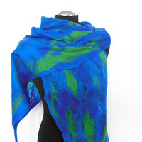 Cobweb Felted scarf ,hand  felted scarf , wool scarf,  merino wool scarf,blue green, OOAK scarf, one of the kind, unique scarf ,