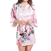 Silk Satin Wedding Bride Bridesmaid Robe Floral Bathrobe Short Kimono Robe Night Robe Bath Robe Fashion Dressing