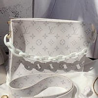 LV Fashion New Monogram Print Leather Shoulder Bag Cossbody Bag Handbag Cosmetic Bag White