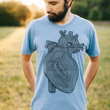 Transplant tshirt - men's graphic tee - anatomical heart with tree rings on heather blue - nature lover t shirt for him - faux bois heart