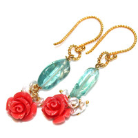 Apatite Earrings Carved Coral Rose Earrings Apatite Jewelry Coral Jewelry Resort Jewelry Bright Jewelry Valentine's Day Flower Earrings