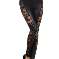 Sitting Right Here Faux Leather Lace Leggings