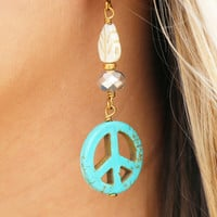 Peace Sign Dangle Earrings in Turquoise