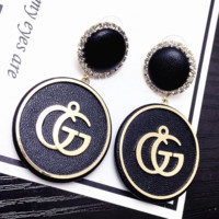 GUCCI Fashion  New Letter Leather Diamond Round Long Earring Women Black