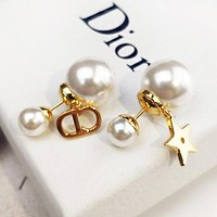 Dior Hot Sale Women Fashion CD Alphabet Pearl Earrings Accessories Jewelry