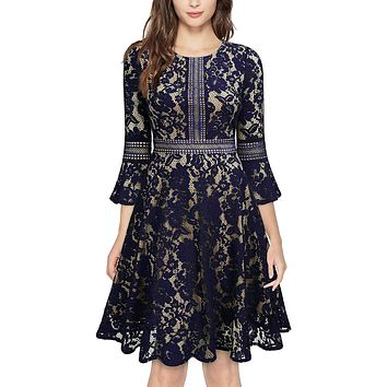 Vintage Inspired Bell Sleeve Lace Cocktail Dress, US Sizes 0 - 20  (Navy Blue Dress)