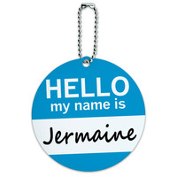 Jermaine Hello My Name Is Round ID Card Luggage Tag