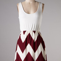 GAME DAY DRESS - IVORY & CRIMSON