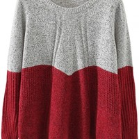 Color-Blocked Knit Long-Sleeve Sweater - OASAP.com