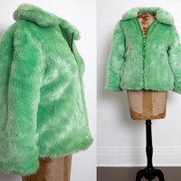 90s Club Kid Green Faux Fur Coat, Cyber Neon Lime Crime Puffer Jacket Raver 1990s, Spice Girls, Clueless, Festival, Burning Man, size Medium
