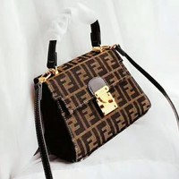 FENDI fashion casual canvas full printed sewing thread one-shoulder bag popular casual women shopping bag