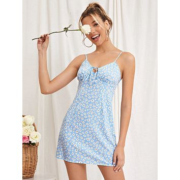 SHEIN Ditsy Floral Knot Front Cami Dress