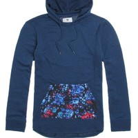 On The Byas Owen Pieced Hooded Long Sleeve Shirt - Mens Shirt - Blue