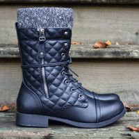 Bonfire Tales Black Quilted Sweater Boots